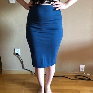 American Apparel body-con deep blue skirt